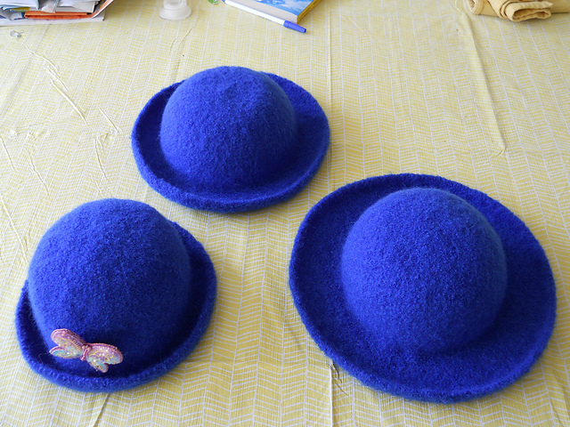 3 felted hats