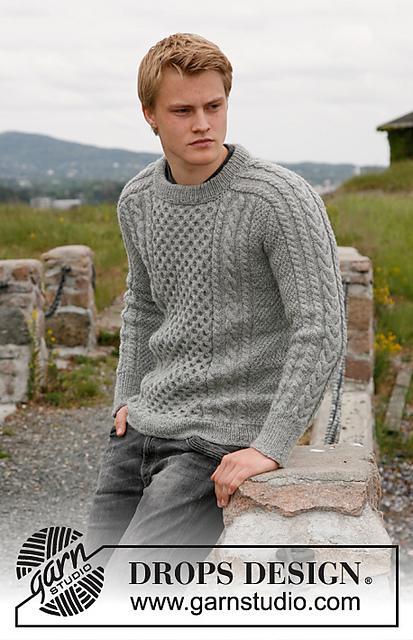 Чоловічий пуловер з косами