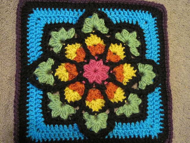 Mary Anns Crochet Julieannys Stained Glass Afghan Square