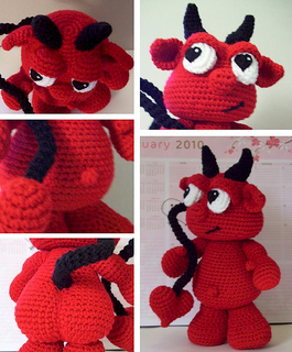 Amigurumi Crochet In The Round : Ravelry: SG002 - Lu the Valentine Devil pattern by K4TT