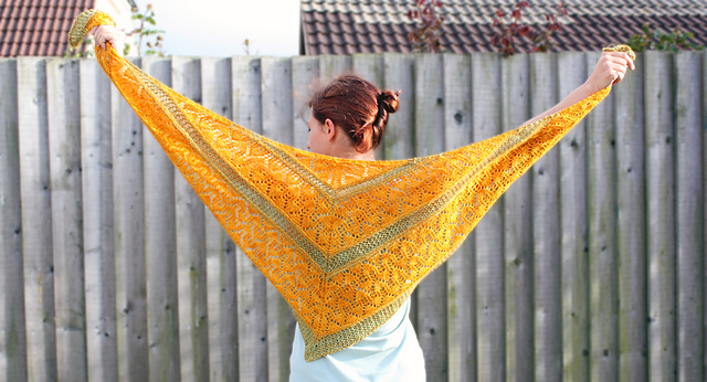 Kyra shawl knitting pattern - full view
