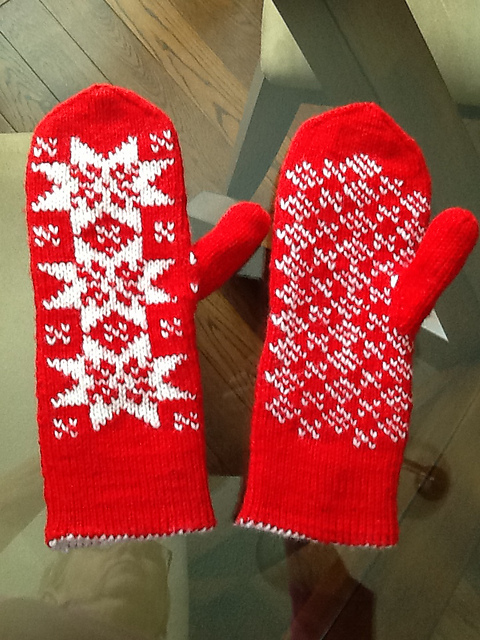 Snowflake Galore Double knit red and red mittens