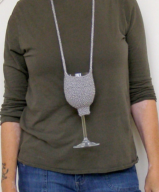 Free Pattern Crochet Wine Glass Holder : Knitting Project of the Day: Wine Glass Holder