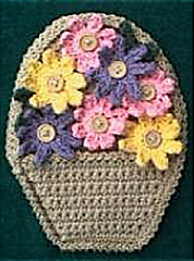 Free Crochet Flower Basket Pattern : Ravelry: Flower Basket Potholder pattern by Priscilla Hewitt