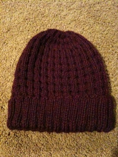 Waffle Stitch Knit Hat Pattern : Knit Waffle Hat Suebob Knits