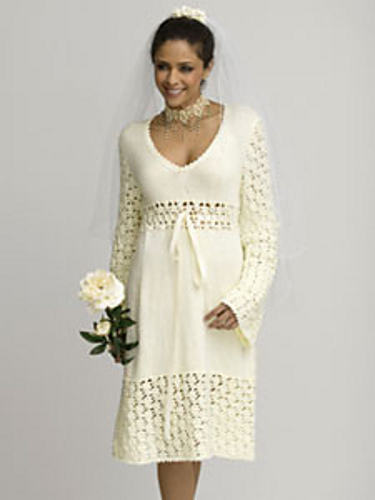 Three strands together knit and crochet wedding gowns for Crochet wedding dress pattern