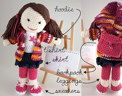 Back to School Lily Doll free crochet pattern girl backpack amigurumi handmade toy