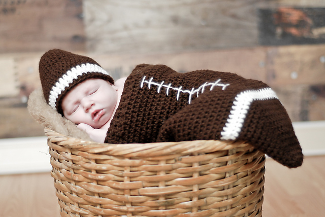 Football Cocoon (Newborn only) by Boomer Beanies