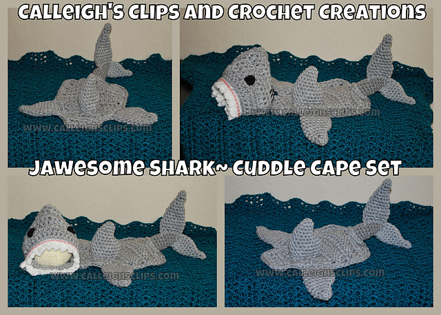 Niccupp crochet 12 sharks you can crochet while watching shark week jawesome shark cuddle cape by calleighs clips and crochet creations dt1010fo