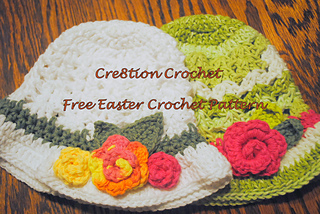 Free Crochet Patterns For Easter Bonnets : Ravelry: Shell Stitch Easter Hat with Spring Blossoms ...