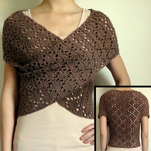 Diamond Eyelet Wrap Sweater by Rachel Choi