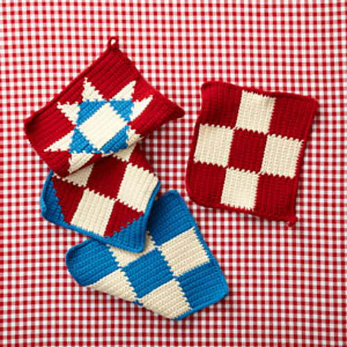 4th of July Potholders, free crochet pattern, lion brand, cotton