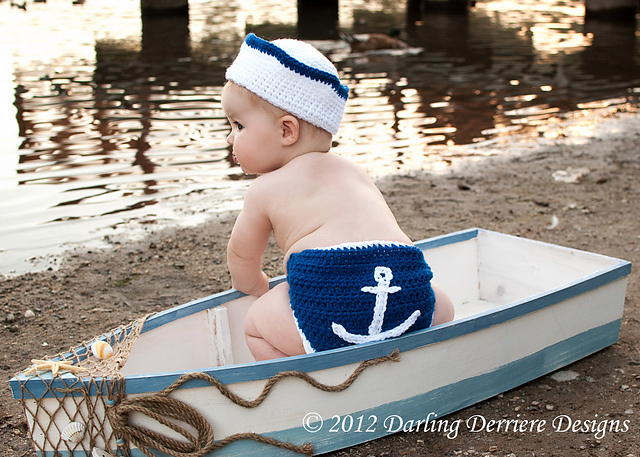 Sailor Hat, Nautical Headband, and Anchor Crochet Diaper Cover Pattern by Darling Derriere Designs ($5.50)