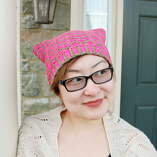 Heather Zoppetti in her Feroce hat, knit in Manos Maxima