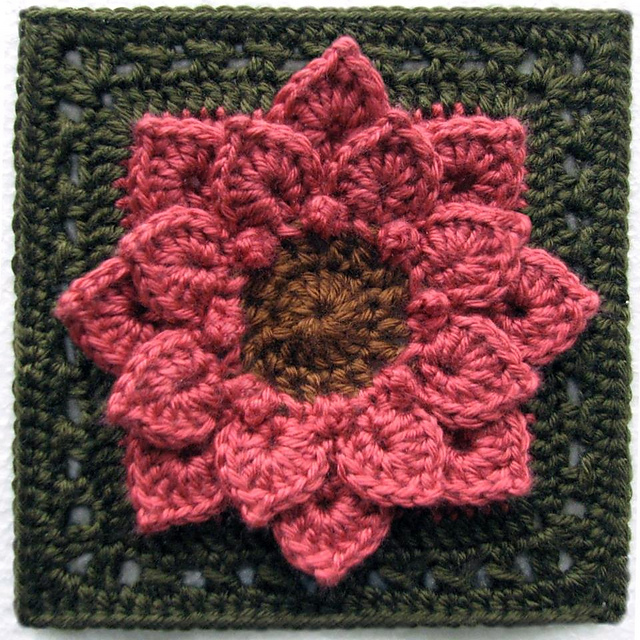crocodile stitch afghan block dahlia flower free crochet pattern