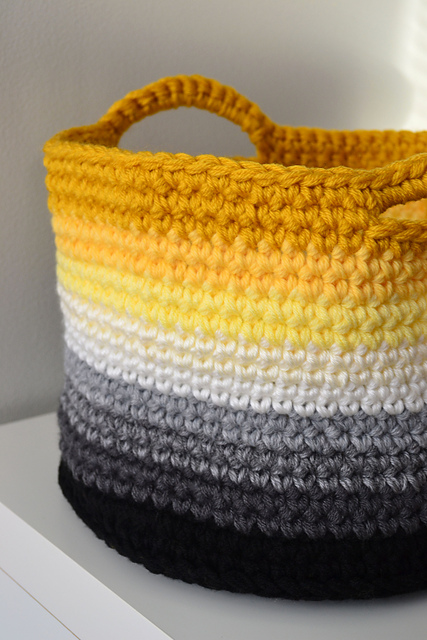 Free Pattern Crochet Basket : Crochet in Color: Ombre Basket Pattern