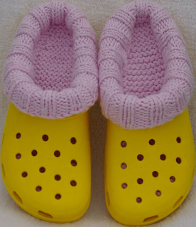 Clog_liners_adult_size_8_pink_lliner__yellow_clog__standing_on_toes_view_small2