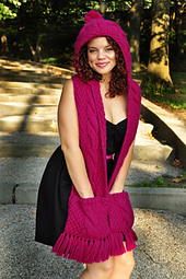 Knitted Hooded Scarf With Pockets Pattern : Ravelry: