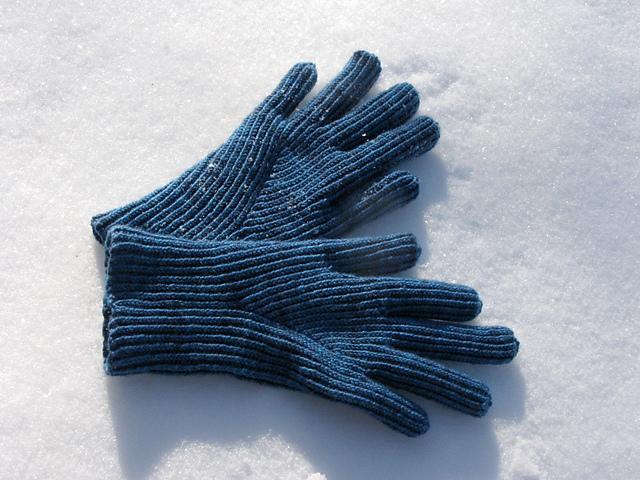 gloves on snow
