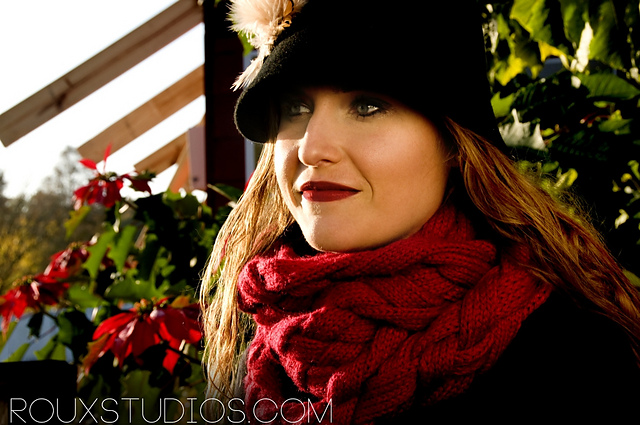 Lane, Woven Knit Red Scarf modeled by Lindsay Debvoise