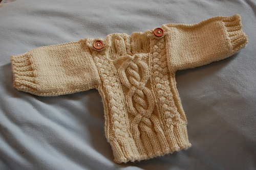 Cabled baby pullover!