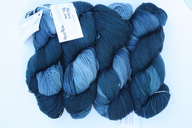 "KRDyeworks ""Blue Dress"" on BFL Superwash Sock - 4 skeins available"