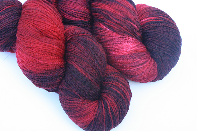 "Kim Dyes Yarn ""Black Cherry"" on Ultra Merino 3-Ply Sock"