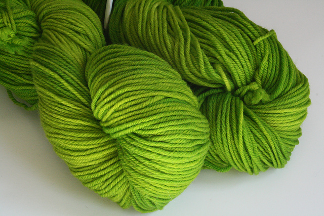 "Shadyside Farm Studio ""Lime"" on Krayon Box Worsted Superwash - 2 skeins"
