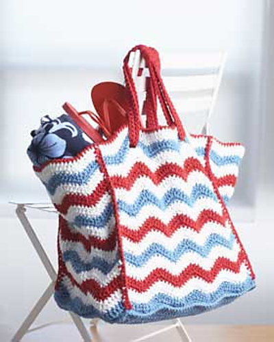 4th of July Beach Bag free crochet pattern independence holiday stripes tote