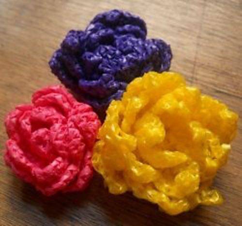 Free Crochet Pattern For Cabbage Rose : All My Flower Patterns Moira Crochets Plarn