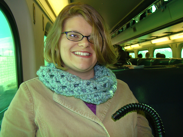 Me on the train heading toward downtown Chicago.