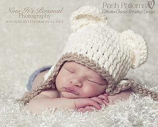 Ravelry Chunky Baby Bear Earflap Hat Crochet Pattern 186