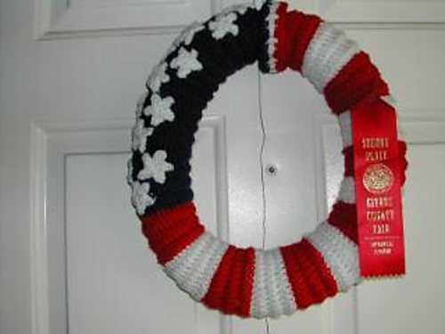fourth of july, independance day, patriotic wreath free crochet pattern