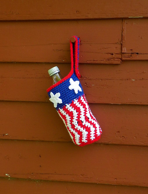 Uncle sam bottle cozy, 4th of july, free crochet pattern
