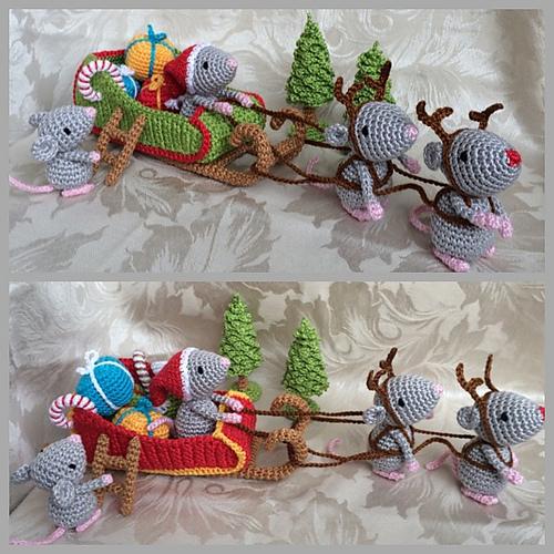 Haakpatroon Kerst Muizen met Slee